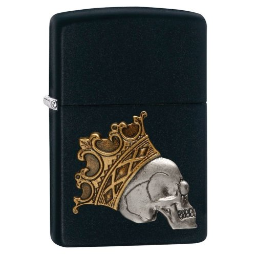 King Skull Black Matte Zippo Lighter