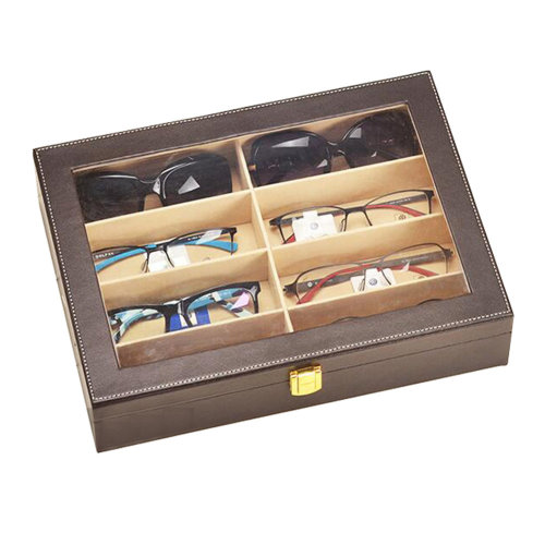 Leather Box Eyeglasses Display Organizer Storage Case – 8 Compartments (Brown)