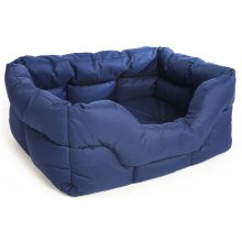 Country Dog Heavy Duty Waterproof Rectangle Drop Front Softee Bed Blue 75x60x27cm