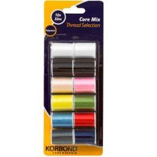 32m Pack Of 12 Core Mix Threads -  korbond core mix thread selection 12 12x32m repair sewing polyester 10 assorted colours roll