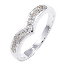 Sterling Silver Channel Set Wishbone Cubic Zirconia Ring - Size N