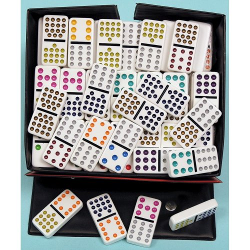 Double fifteen dominoes with coloured spots 00124