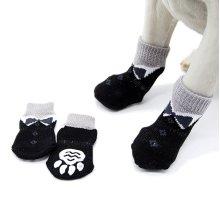 Cat Dog Socks Black Shoes Pattern Anti-Slip
