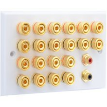 White 10.2 Speaker Wall Plate - 20 Terminals + 2 x RCA's - Rear Solder tab Connections