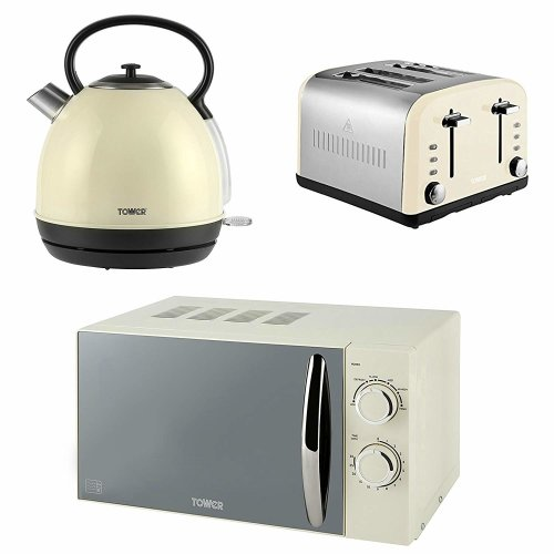 CREAM TOWER Manual Microwave, 1.7L Dome Kettle & a Cream Silver 4 Slice Toaster