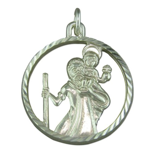 Childrens Sterling Silver Round Cut out St Christopher Pendant On A Curb Necklace