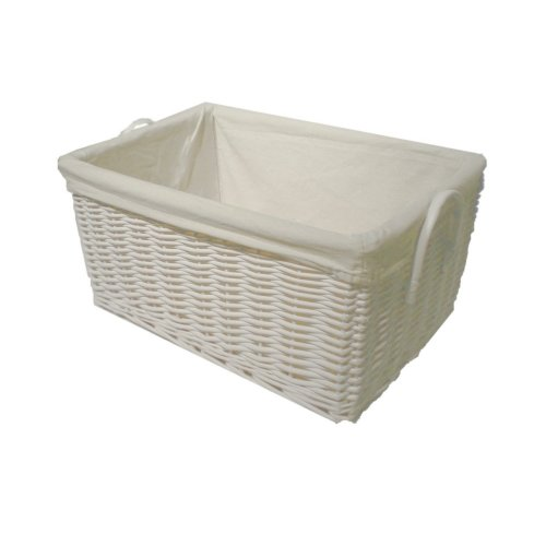 Handmade White Painted Willow Lined Storage Basket - Ex large