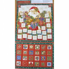 Christmas Advent Calendar Traditional Santa Cotton Quilting Panel Fabric
