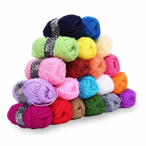 Acrylic Yarn Knitting Wool Set - Assorted Colors -Pack of 20 X 25g Bundles