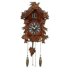 Widdop Quartz Cuckoo Clock with Wooden Case - Bird on Top - Large!