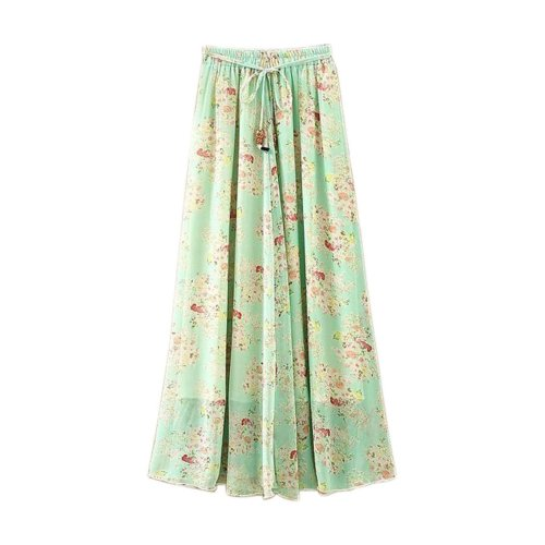 Green Floral Pattern Summer Chiffon Skirt Large Swing Skirts Fairy Skirt