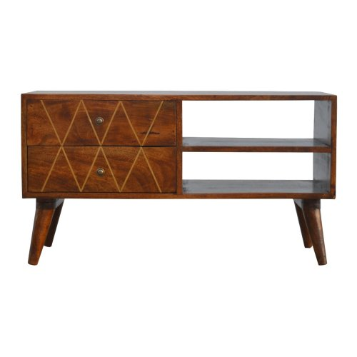 Media Unit with Brass Inlay Drawer Fronts