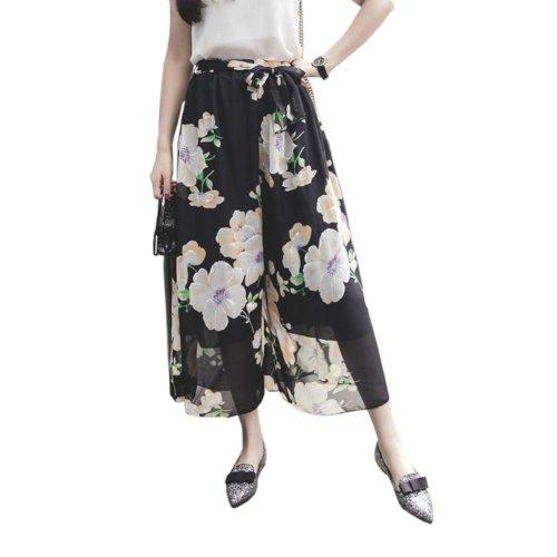 Elegant Summer Thin Pants Floral Print Women Loose Slacks Beach Clothing, #03