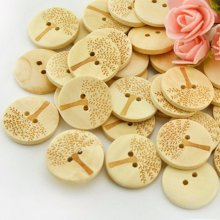 100Pcs Wooden Tree Sewing Buttons