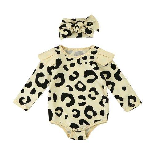 2017 Newborn Toddler Baby Boys Long Sleeve Leopard Print Romper Jumpsuit+Headband baby girl romper Clothes Set