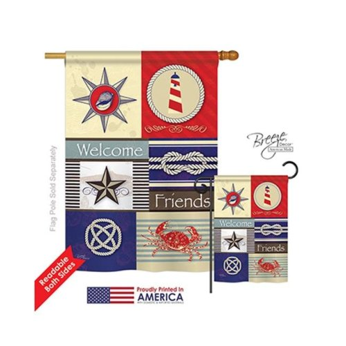 Breeze Decor 07001 Beach & Nautical Shoreline Collage 2-Sided Vertical Impression House Flag - 28 x 40 in.