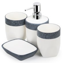 4PC Bathroom Soap Dispenser Dish Set White and Grey Granite Effect TRIXES