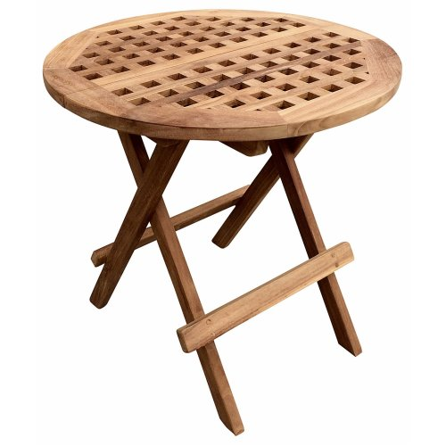 Folding Round Teak Picnic Garden Patio Outdoor Table With Handle