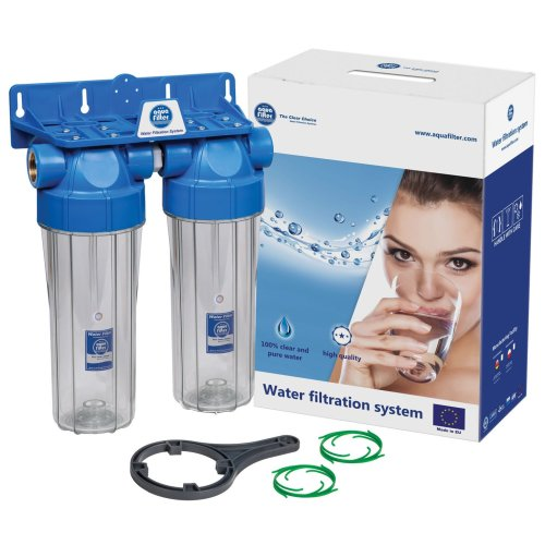 """Double 10"""" Filter Housing Set Two Stage Water Filtration System 1/2"""" or 3/4"""" Connection"""