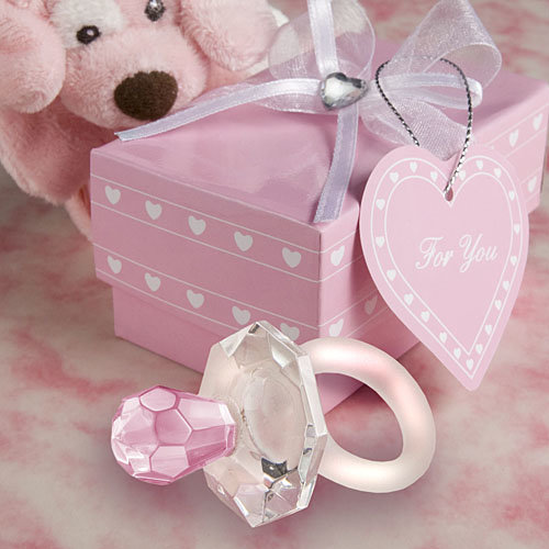 Choice Crystal Pink Pacifier Dummy Favours