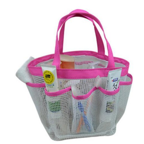 Outdoor Camping Quick Dry Mesh Shower Accessories Tote With Handle-Purple