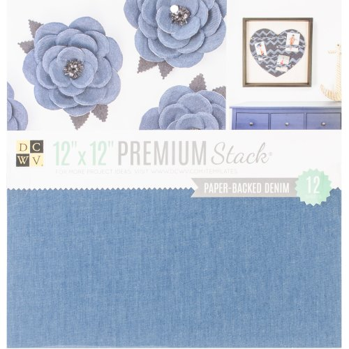 "DCWV Single-Sided Specialty Stack 12""X12"" 12/Pkg-Paper Backed Denim Fabric"