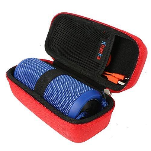 Khanka Hard Case Portable Bag for JBL Flip 3 amp Flip 4 Waterproof Splashproof Portable Wireless Bluetooth Speaker Red