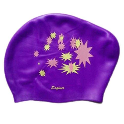 Beautiful Design Waterproof Premium Long Hair Swim Cap For Women Purple