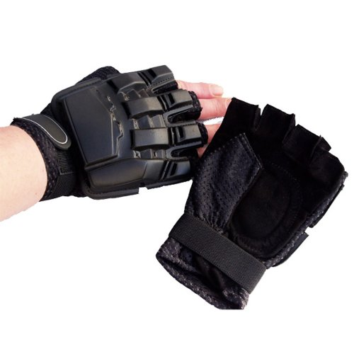Half Fingered Armoured Paintball or Airsoft Gloves Black
