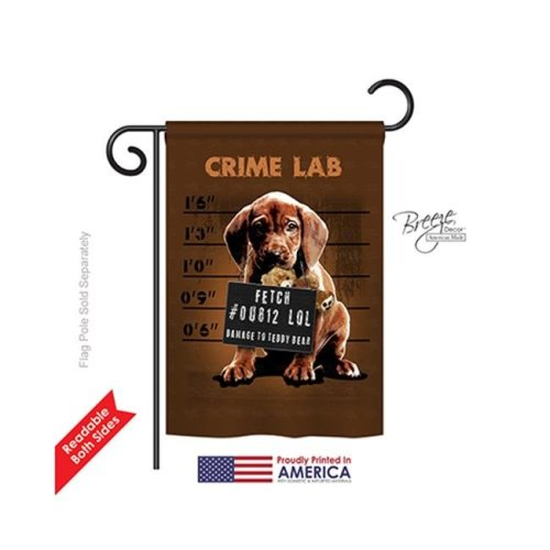 Breeze Decor 60002 Pets Crime Lab 2-Sided Impression Garden Flag - 13 x 18.5 in.
