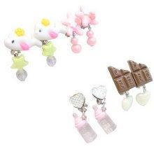 Set of 4 Clip-on Earrings for Kids Clip-on Earrings for Girls [Multicolor-9]