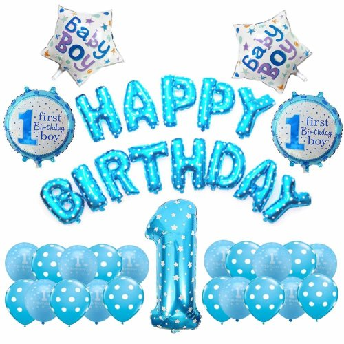 Weimi 1st Birthday Decorations For Boy Inflate Helium Foil Balloons Decoration Set On OnBuy