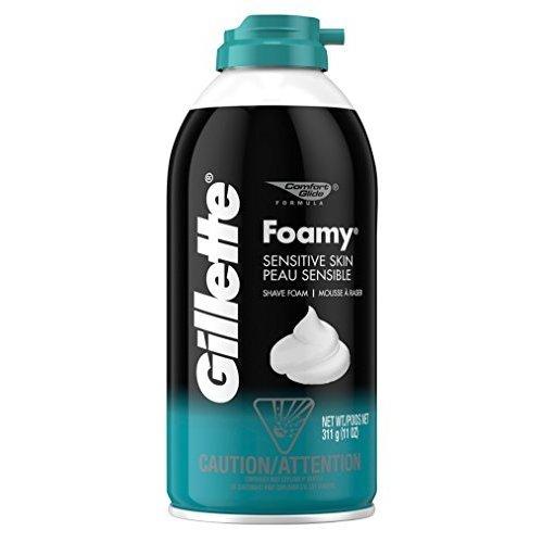 Gillette Foamy Sensitive Skin Shaving Cream 11 oz (Pack of 6)