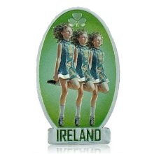 Ireland Irish Dancers Fridge Magnet Foil Stamped Green Souvenir Gift 3 Women New
