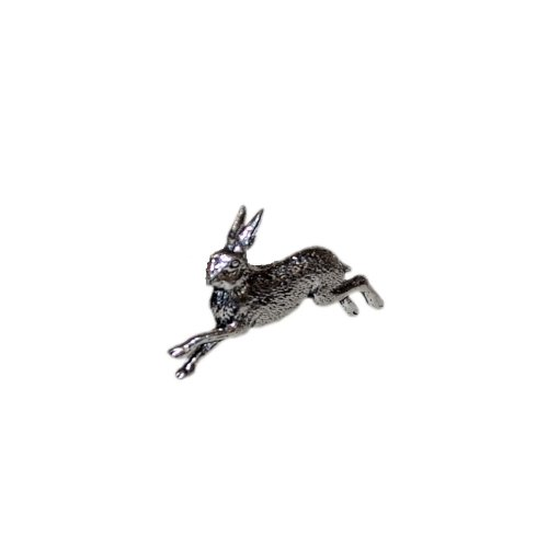 Running Hare Pewter Lapel Pin Badge