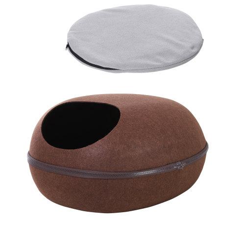 PawHut 40°C Pet Electric Heating Pad Brown Cat Bed Berber Fleece Chew-Proof Cord