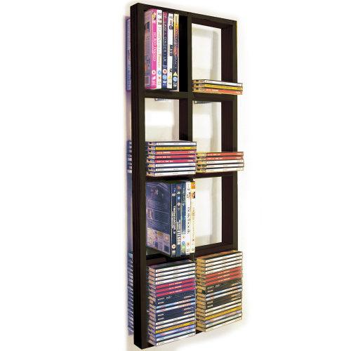 IRIS - Double Wall 152 CD / 64 DVD / Blu ray Storage Frame Shelf - Black/Brown