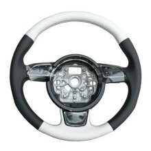 Audi 8X0 064 244 B 9D8 Lifestyle Kit Union Square Sports Leather Steering Wheel 3-Spoke Multifunction, Black/ White