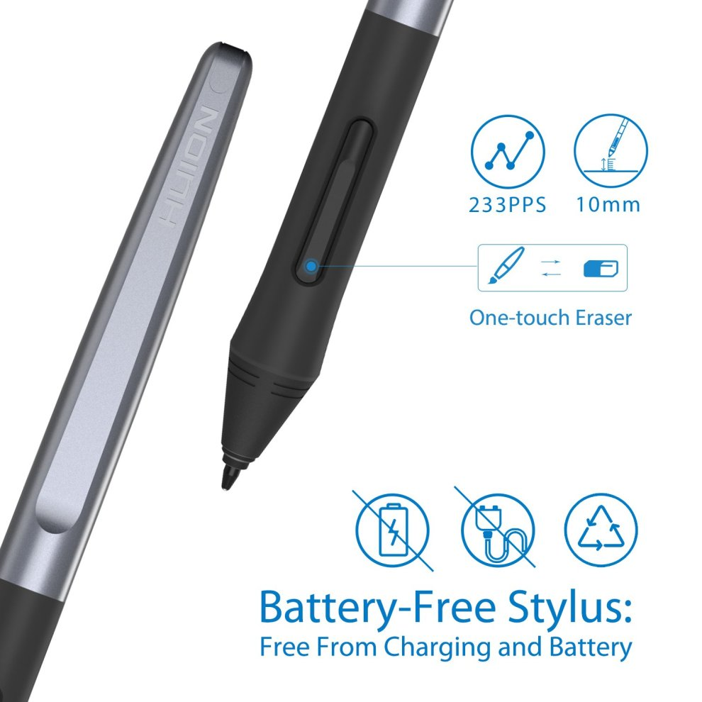 HUION Upgraded H610Pro V2 Graphic Tablet, Battery-free Stylus with Tilt  Function and 8192 Levels of Pen Pressure Sensitivity, with 8 Hot Keys