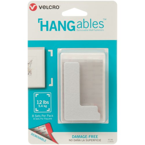 """Velcro(R) Brand HANGables Removable Wall Fasteners 3""""X1.75""""-8/Pkg, Holds Up To 12lbs"""