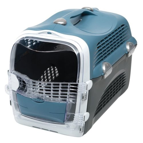 Cat Transport Box Cage Crate Open Top and Sides Double Bowls Safe Car
