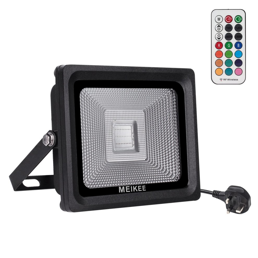 Meikee Rgb Led Flood Light 30w 16 Colours 4 Modes Security With 360Â Rf Wireless Remote Control Ip66 Waterproof Dimmable On