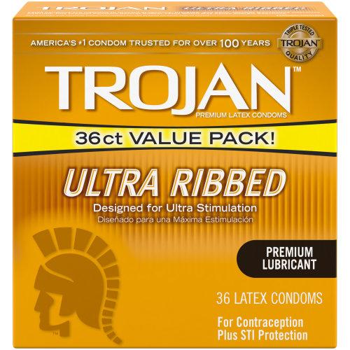 Trojan Ultra Ribbed Lubricated Condoms, 36