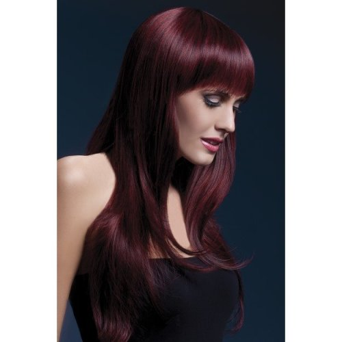 Smiffy's Fever Sienna Two Tone Wig Black/purple -  wig fever sienna cherry black fancy dress feathered fringe