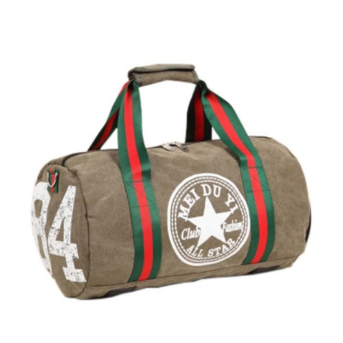 Fashion Canvas Bag Portable Travel Bag Gym Duffel Bag Sports Bag With Shoes Compartment, B