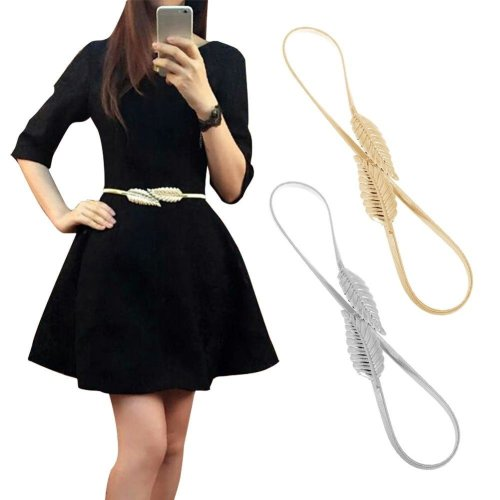 Hot Women Belt Leaf Design Clasp Front Stretch Metal Waist Belt Skinny Elastic Ceinture