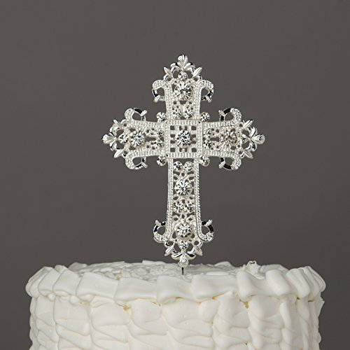 Cross Cake Topper - Religious, Wedding, Baptism, Christening, Dedication, Boda Keepsake Decoration (Silver)