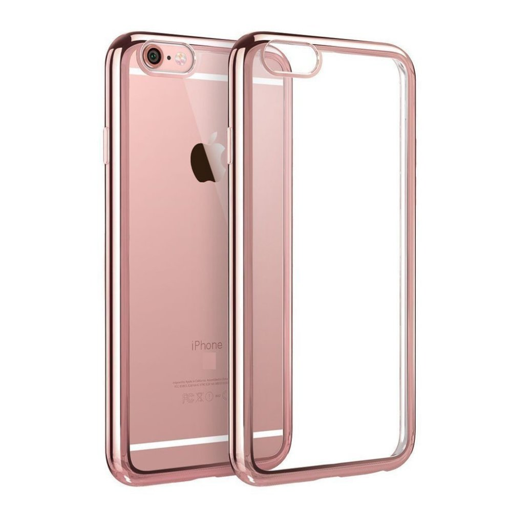 official photos f8a43 2864a SS Tech iPhone 8 / iPhone 7 Rose Gold Bumper Case Ultra-Thin Soft Gel Clear  Back TPU Side Colour chrome Case (4.7