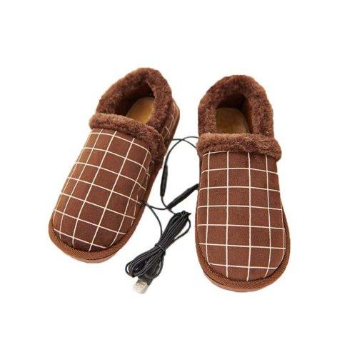[Coffee Grid] Heating Shoes Warm USB Electric Heated Slipper usb Foot Warmer for Winter 27cm