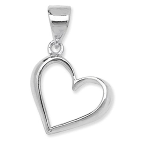 Childrens Sterling Silver Plain Open Heart Pendant On A Curb Necklace